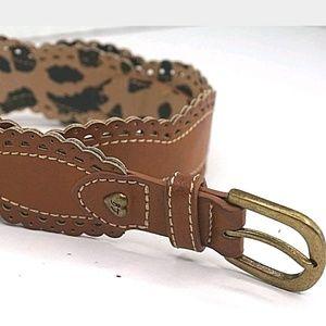 Betsey Johnson Scalloped Medium Brown Belt
